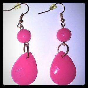 💥BOGO💥 Hot Pink Resin Tear Drop Dangle Earrings